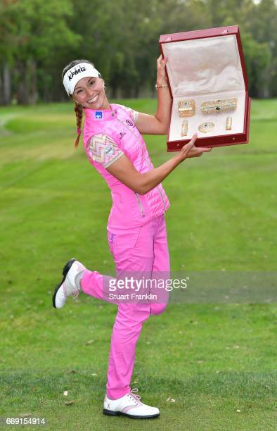 Klara Spilkova of The Czech Republic celebrates after winning the Lalla Merymem Cup during the fourth round of the Trophee Hassan II at Royal Golf...