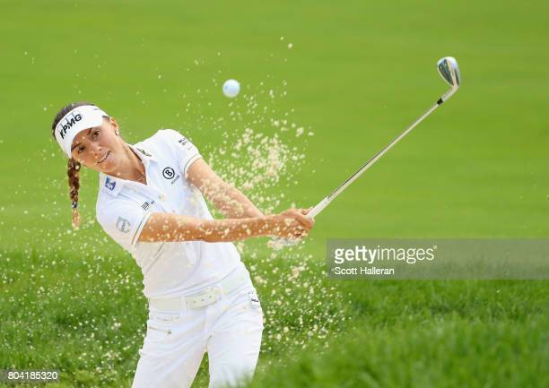 Klara Spilkova of the Czech Republic plays a bunker shot on the third hole during the second round of the 2017 KPMG Women's PGA Championship at...