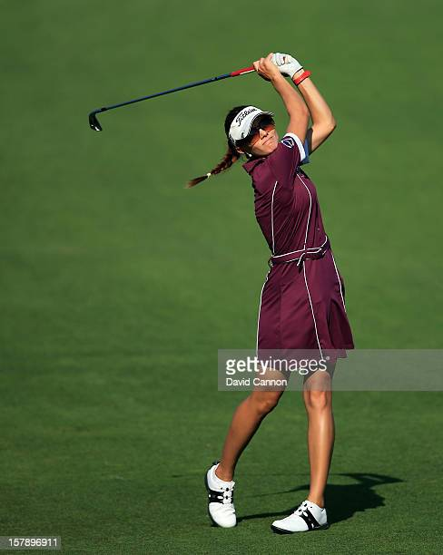 Klara Spilkova of The Czech Republic plays her second shot at the par 4 14th hole during the third round of the 2012 Omega Dubai Ladies Masters on...