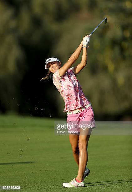 Klara Spilkova of the Czech Republic plays her second shot at the fifth hole during the delayed second round of the 2016 Omega Dubai Ladies Masters...