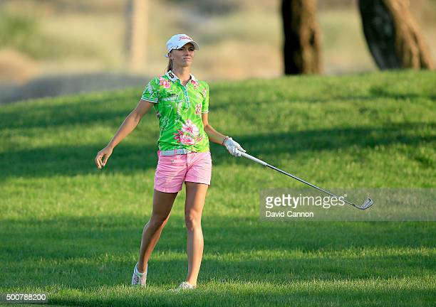 Klara Spilkova of The Czech Republic plays her second shot on the par 4 16th hole during the second round of the 2015 Omega Dubai Ladies Masters on...