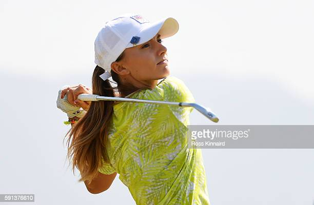 Klara Spilkova of the Czech Republic plays her shot from the fourth tee during the First Round of Women's Golf at Olympic Golf Course on Day 12 of...