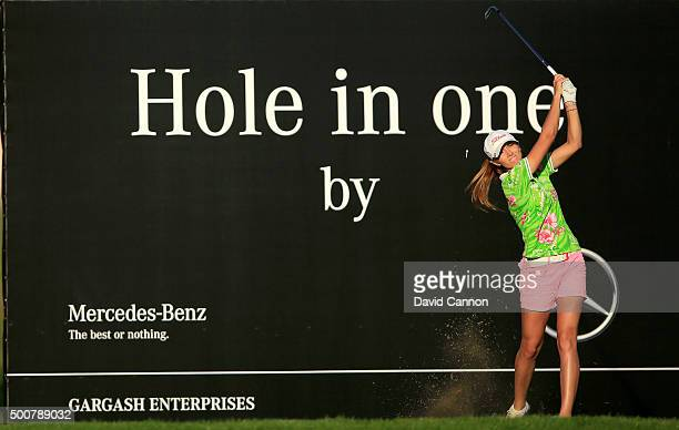 Klara Spilkova of The Czech Republic plays her tee shot on the par 3 15th hole during the second round of the 2015 Omega Dubai Ladies Masters on the...