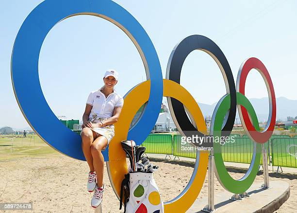 Klara Spilkova of the Czech Republic poses during a practice round prior to the start of the women's golf during Day 10 of the Rio 2016 Olympic Games...