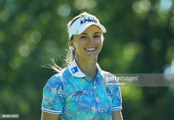 Klara Spilkova of the Czech Republic walks on the ninth hole during the final round of the 2017 KPMG Women's PGA Championship at Olympia Fields...