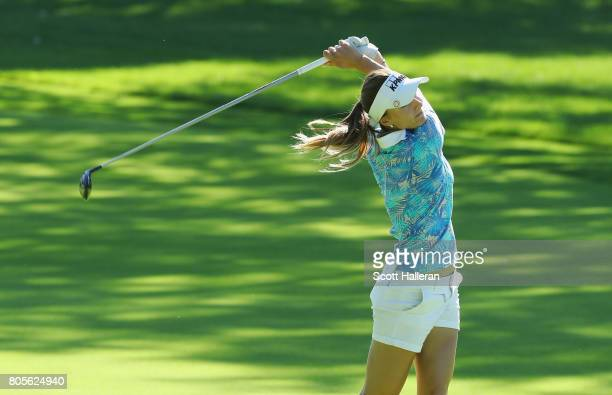Klara Spilkova of the Czech Republic watches a shot to the ninth green during the final round of the 2017 KPMG Women's PGA Championship at Olympia...