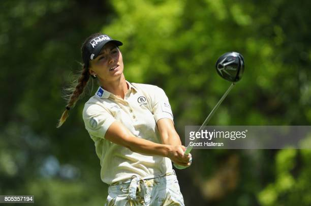Klara Spilkova of the Czech Republic watches her tee shot on the ninth hole during the third round of the 2017 KPMG Women's PGA Championship at...