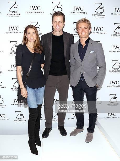 Klara Szalantzy Oliver Bierhoff and Nico Rosberg visit the IWC booth during the Salon International de la Haute Horlogerie 2015 at the Palexpo on...