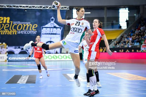 Klara Szekers of Hungary throws a ball during IHF Women's Handball World Championship group B match between Poland and Hungary on December 07 2017 in...
