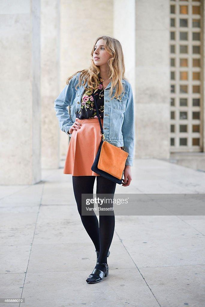 Klara Uebel poses wearing American Apparel total look on Day 9 of Paris Fashion Week Womenswear FW15 on March 11 2015 in Paris France