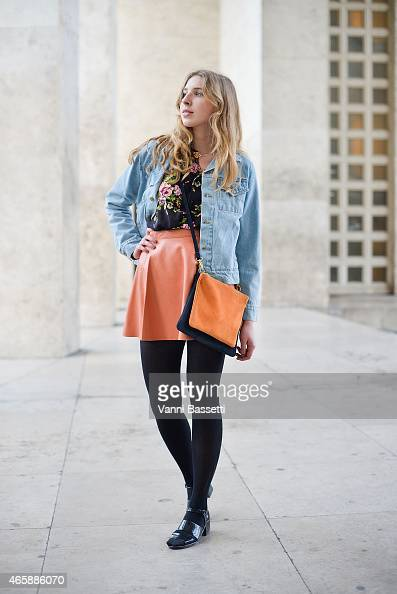 Klara Uebel poses wearing American Apparel total look on Day 9 of Paris Fashion Week Womenswear FW15 on March 11 2015 in Paris France