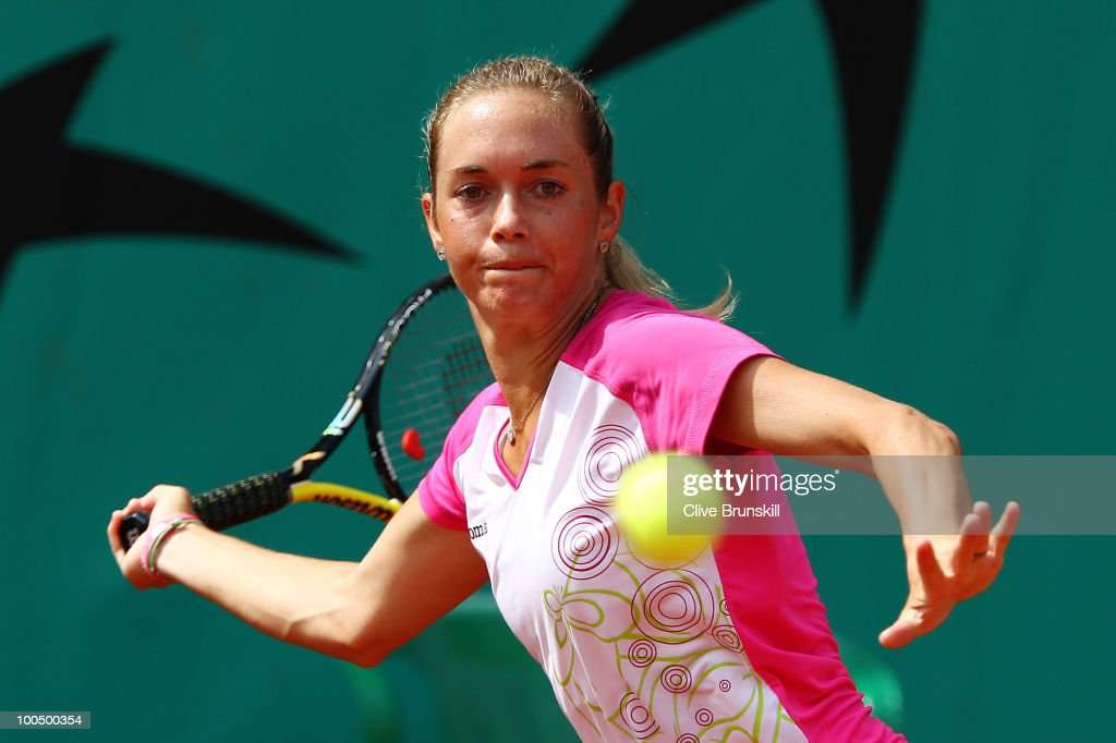 Klara Zakopalova of Czech Republic plays a forehand during the women's singles first round match between Klara Zakopalova of Czech Republic and Katarina Srebotnik of Slovenia on day three of the French Open at Roland Garros on May 25, 2010 in Paris, France.