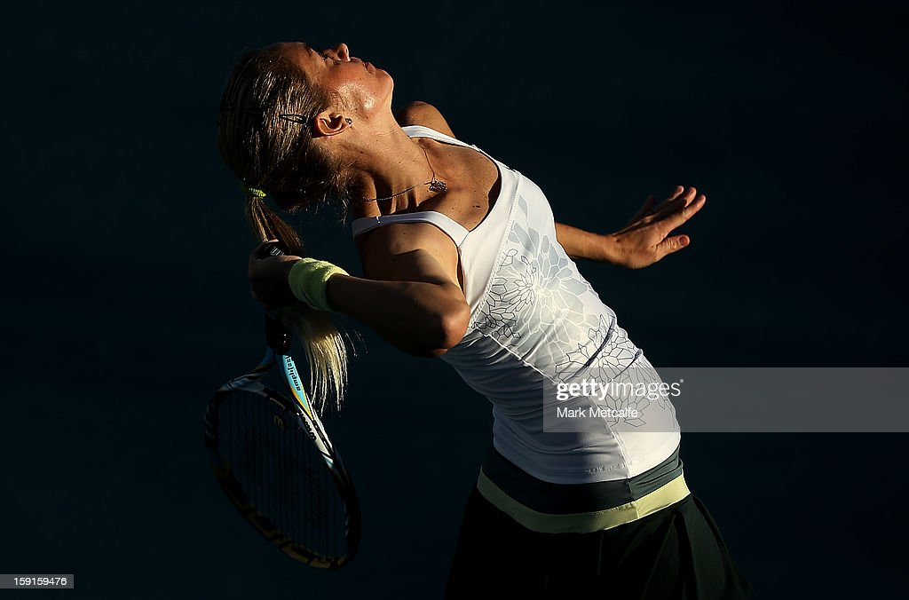 Klara Zakopalova of Czech Republic serves in her second round match against Tsvetana Pironkova of Bulgaria during day five of the Hobart International at Domain Tennis Centre on January 8, 2013 in Hobart, Australia.
