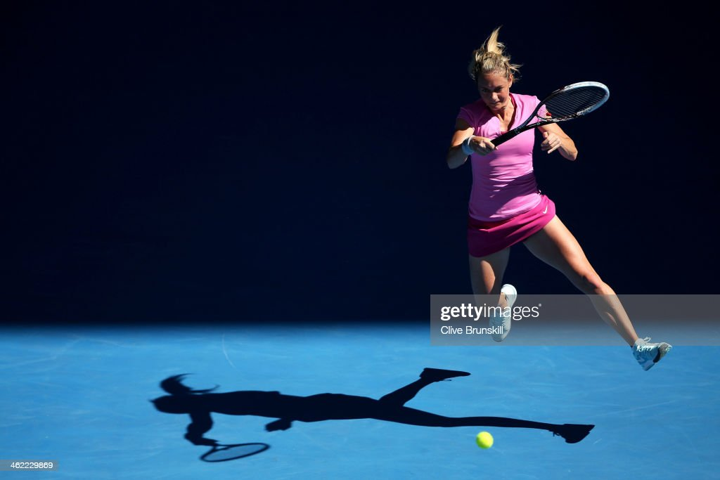 Klara Zakopalova of the Czech Republic plays a forehand in her first round match against Samantha Stosur of Australia during day one of the 2014 Australian Open at Melbourne Park on January 13, 2014 in Melbourne, Australia.