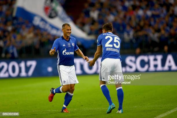 KlassJan Huntelaar during a change with Ebbe Ingo Anderbruegge of Eurofighter and Friends during the 20 years of Eurofighter match between...