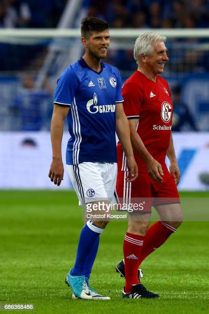 KlassJan Huntelaar of Eurofighter and Friends and Klaus Fischer of Euro All Stars are seen during the 20 years of Eurofighter match between...