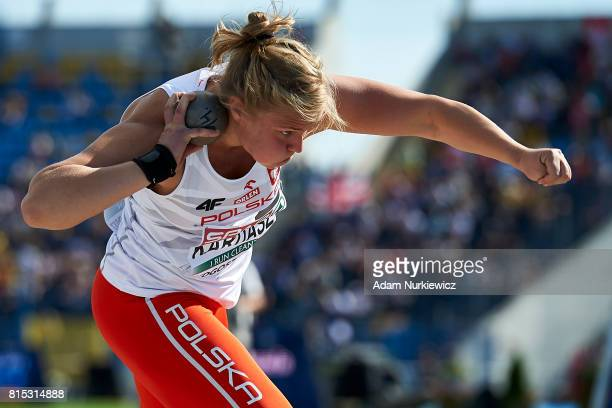 Klaudia Kardasz from Poland competes in women's shot put final during Day 3 of European Athletics U23 Championships 2017 at Zawisza Stadium on July...