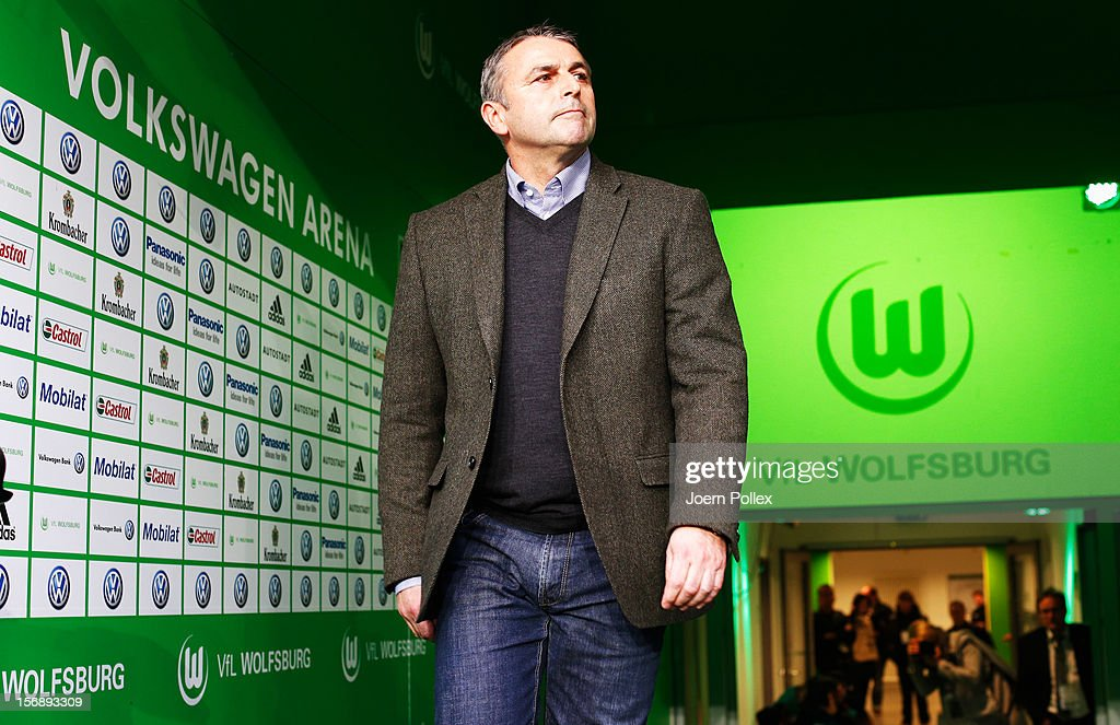 Klaus Allofs, general manager sport of Wolfsburg is seen prior to the Bundesliga match between VfL Wolfsburg and SV Werder Bremen at Volkswagen Arena on November 24, 2012 in Wolfsburg, Germany.