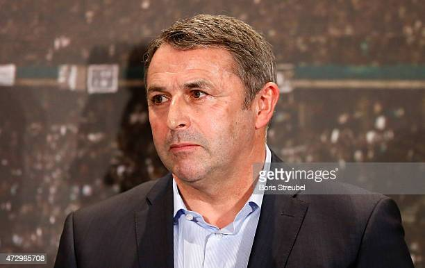 Klaus Allofs manager of VfL Wolfsburg looks on during the DFB cup handover at Wappensaal of the Rote Rathaus on May 11 2015 in Berlin Germany