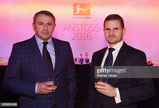 Klaus Allofs sporting manager of Wolfsburg and Manager Marc Arnold of Braunschweig pose for a photo during the DFL New Year's Reception 'Anstoss...