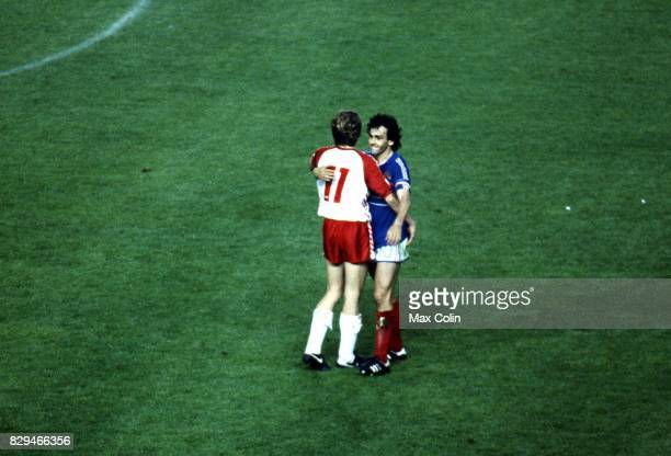 Klaus Berggreen of Denmark and Michel Platini of France during the European Championship match between France and Denmark at Parc des Princes Paris...