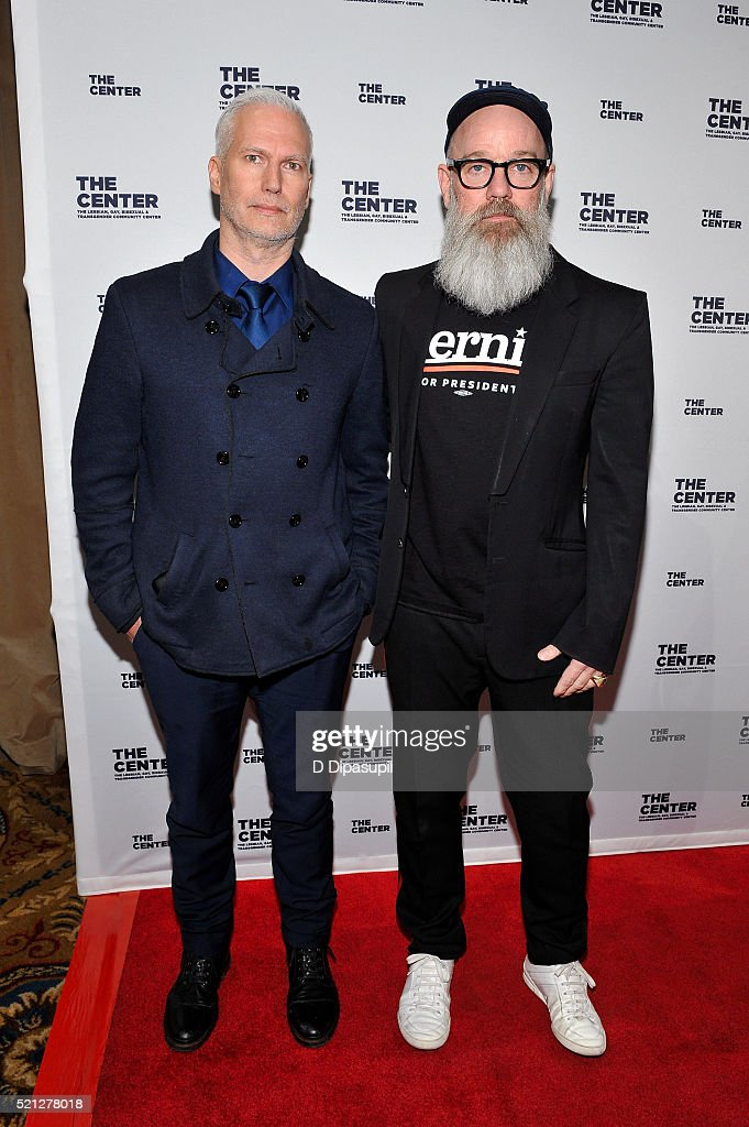 Klaus Biesenbach (L) and Michael Stipe attend The LGBT Center of New York's annual fundraising dinner honoring Mary-Louise Parker and BNY Mellon at Cipriani Wall Street on April 14, 2016 in New York City.