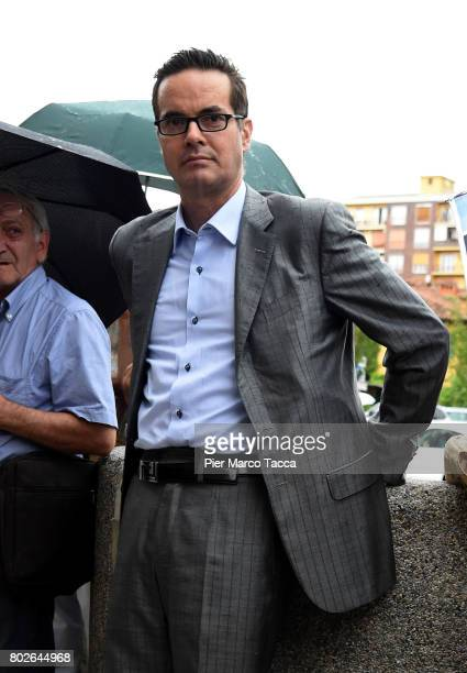 Klaus David attends the Paolo Limiti funeral services at the church of Santa Maria Goretti on June 28 2017 in Milan Italy Paolo Limiti was born in...