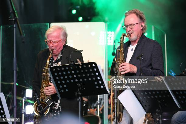 Klaus Doldinger and John Helliwell former Supertramp and Man Doki Soulmates perform during the Sziget Festival at Budapest Park on August 8 2017 in...