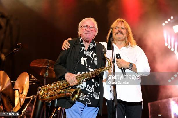 Klaus Doldinger Leslie Mandoki and Man Doki Soulmates perform during the Sziget Festival at Budapest Park on August 8 2017 in Budapest Hungary The...