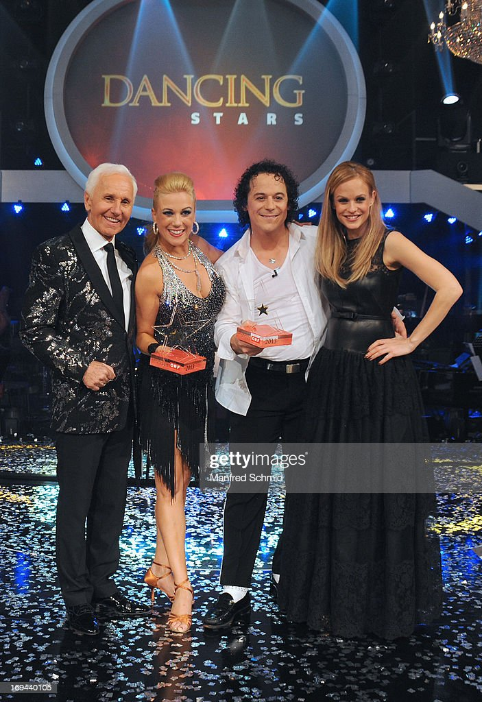 Klaus Eberhartinger, Manuela Stoeckl, Rainer Schoenfelder and Mirjam Weichselbraun pose for a photograph during the final of the TV Show 'Dancing Stars' at ORF Zentrum Wien on May 24, 2013 in Vienna, Austria.