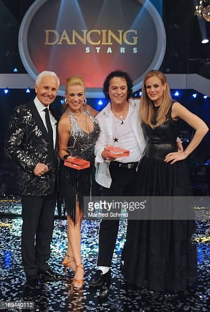 Klaus Eberhartinger Manuela Stoeckl Rainer Schoenfelder and Mirjam Weichselbraun pose for a photograph during the final of the TV Show 'Dancing...