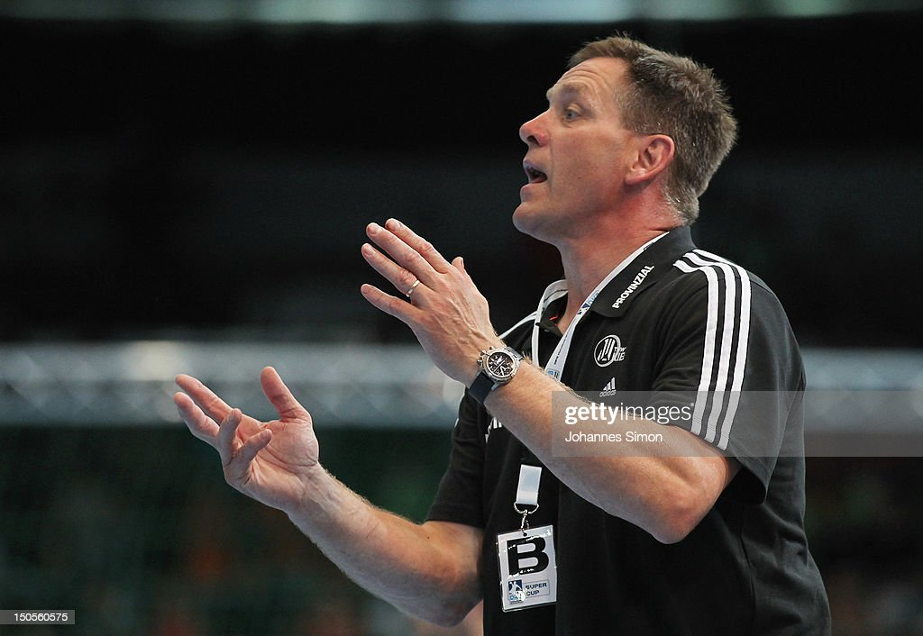Klaus Elwardt, head coach of Kiel gestures during the Handball Supercup match between THW Kiel and SG Flensburg Handewitt at Olympia Eishalle on August 21, 2012 in Munich, Germany.