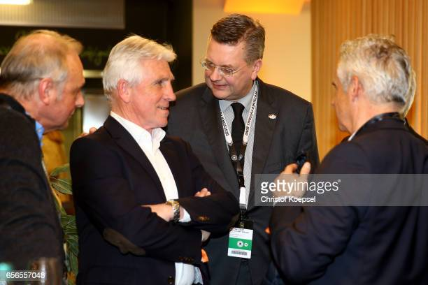 Klaus Fischer and Reinhard Grindel DFB president talk during the Club of Former National Players Meeting at Signal Iduna Park on March 22 2017 in...