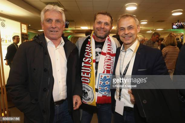 Klaus Fischer Uli Borowka and Olaf Thon pose during the Club of Former National Players Meeting at Signal Iduna Park on March 22 2017 in Dortmund...