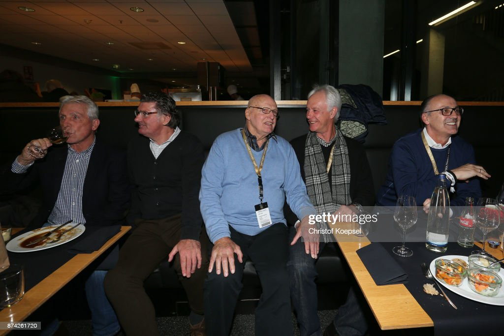 Klaus Fischer, Wilfried Hannes, Manfred Manglitz, Ger Strack and Juergen Kohler are seen during the Club Of Former National Players Meeting at RheinEnergieStadion on November 14, 2017 in Cologne, Germany.