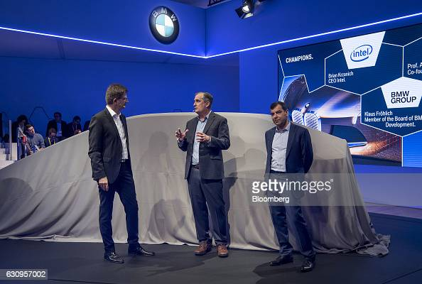 Klaus Froehlich member of the management board at Bayerische Motoren Werke AG left and Amnon Shahua chairman and chief technology officer of Mobileye...