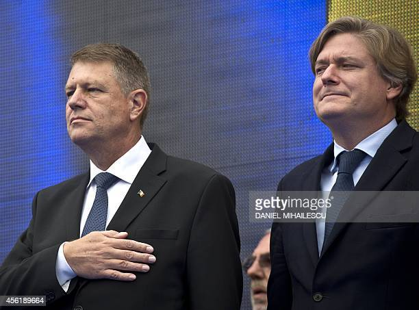 Klaus Iohannis candidate for presidency of Romania from the Christian Liberal Alliance takes part in launching of his candidacy at Victoria square...