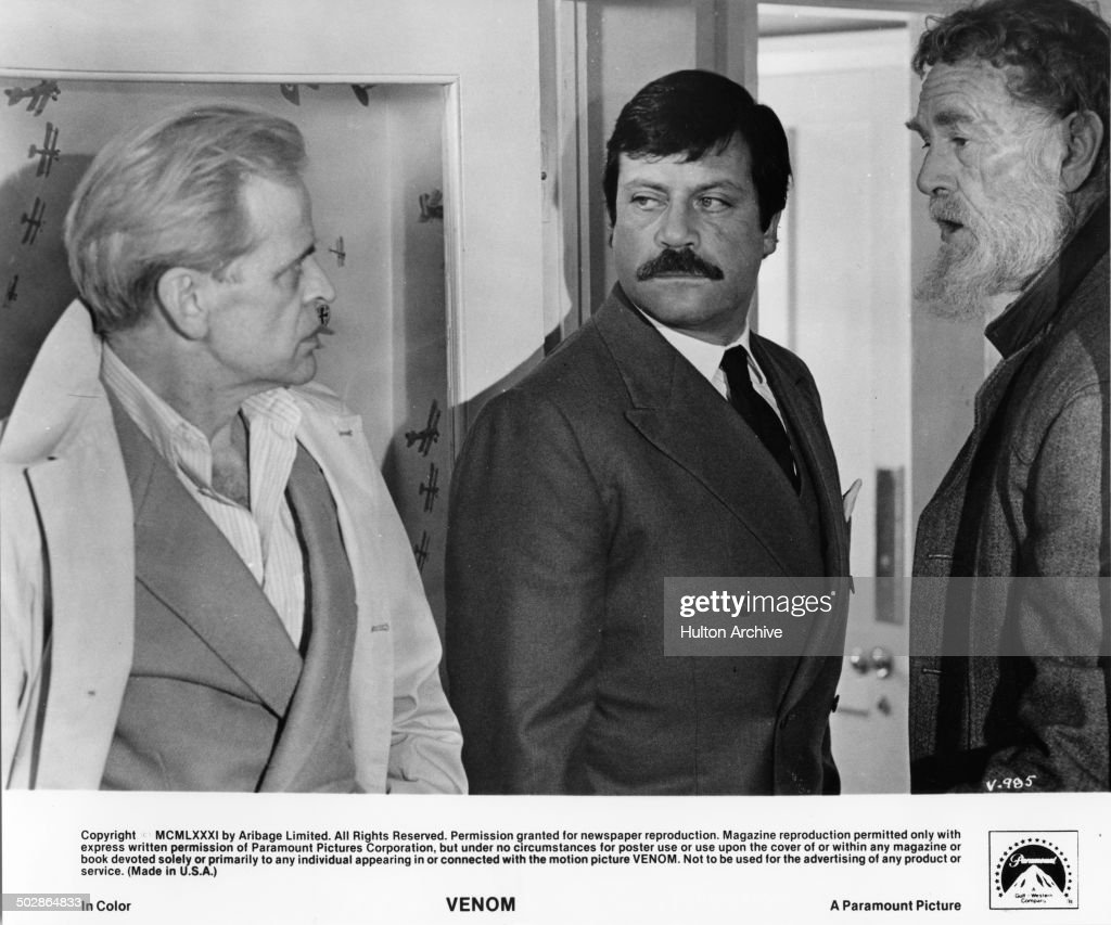 Klaus Kinski ; Oliver Reed Sterling Hayden makes plans in a scene from the Paramount Picture movie 'Venom' circa 1981.