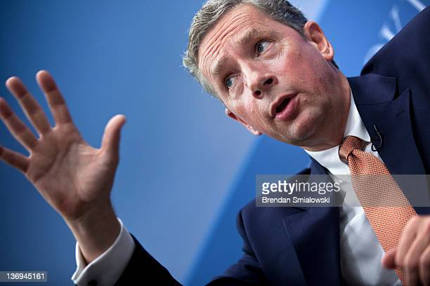 Klaus Kleinfeld Chairman and Chief Executive Officer of Alcoa speaks during a panel discussion at the Brookings Institution January 13 2012 in...