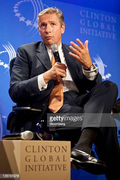 Klaus Kleinfeld chief executive officer of Alcoa Inc speaks at the Clinton Global Initiative in New York US on Wednesday Sept 21 2011 The...