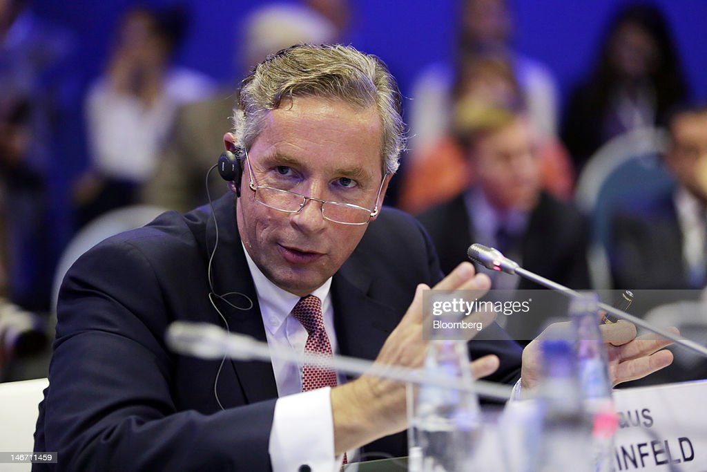 <a gi-track='captionPersonalityLinkClicked' href=/galleries/search?phrase=Klaus+Kleinfeld&family=editorial&specificpeople=558412 ng-click='$event.stopPropagation()'>Klaus Kleinfeld</a>, chief executive officer of Alcoa Inc, speaks during a conference session on day three of the Saint Petersburg International Economic Forum 2012 (SPIEF) in Saint Petersburg, Russia, on Saturday, June 23, 2012. Russia's showcase investment conference, a three-day event, features foreign executives from global companies, including Citigroup Inc., Goldman Sachs Group Inc., and Siemens AG. Photographer: Andrew Rudakov/Bloomberg via Getty Images