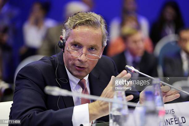 Klaus Kleinfeld chief executive officer of Alcoa Inc speaks during a conference session on day three of the Saint Petersburg International Economic...