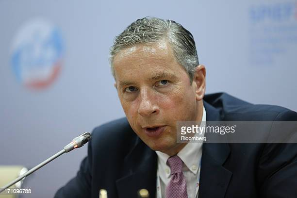 Klaus Kleinfeld chief executive officer of Alcoa Inc speaks during a conference session on day two of the St Petersburg International Economic Forum...
