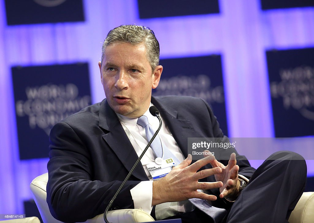 <a gi-track='captionPersonalityLinkClicked' href=/galleries/search?phrase=Klaus+Kleinfeld&family=editorial&specificpeople=558412 ng-click='$event.stopPropagation()'>Klaus Kleinfeld</a>, chief executive officer of Alcoa Inc., speaks during a session on day two of the World Economic Forum (WEF) in Davos, Switzerland, on Thursday, Jan. 23, 2014. World leaders, influential executives, bankers and policy makers attend the 44th annual meeting of the World Economic Forum in Davos, the five day event runs from Jan. 22-25. Photographer: Chris Ratcliffe/Bloomberg via Getty Images