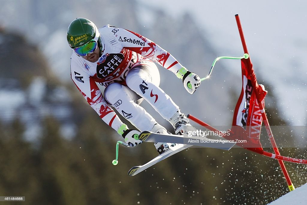 <a gi-track='captionPersonalityLinkClicked' href=/galleries/search?phrase=Klaus+Kroell&family=editorial&specificpeople=791783 ng-click='$event.stopPropagation()'>Klaus Kroell</a> of Austria competes during the Audi FIS Alpine Ski World Cup Men's Downhill Training on January 13, 2015 in Wengen, Switzerland.