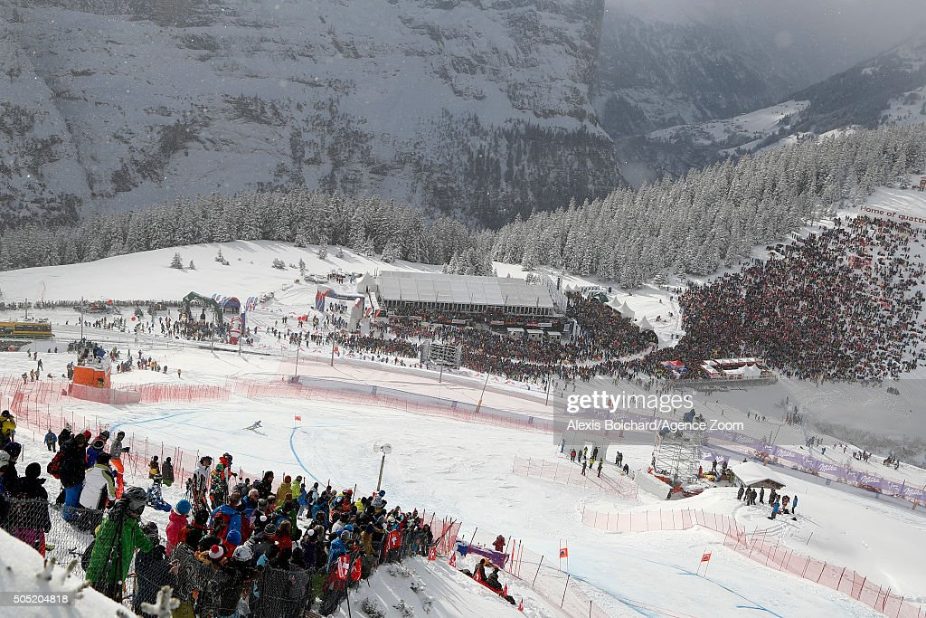 Klaus Kroell of Austria during the Audi FIS Alpine Ski World Cup Men's Downhill on January 16 2016 in Wengen Switzerland