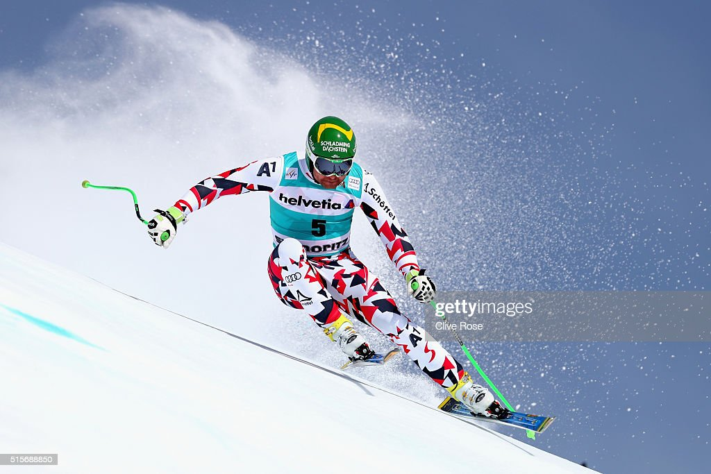 <a gi-track='captionPersonalityLinkClicked' href=/galleries/search?phrase=Klaus+Kroell&family=editorial&specificpeople=791783 ng-click='$event.stopPropagation()'>Klaus Kroell</a> of Austria in action during the Audi FIS Alpine Skiing World Cup downhill training on March 15, 2016 in St Moritz, Switzerland.