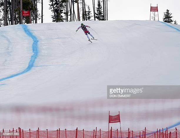 Klaus Kroell of Austria races down the course during the 2014 Audi FIS Alpine Ski World Cup Men's Downhill training December 3 2014 in Beaver Creek...