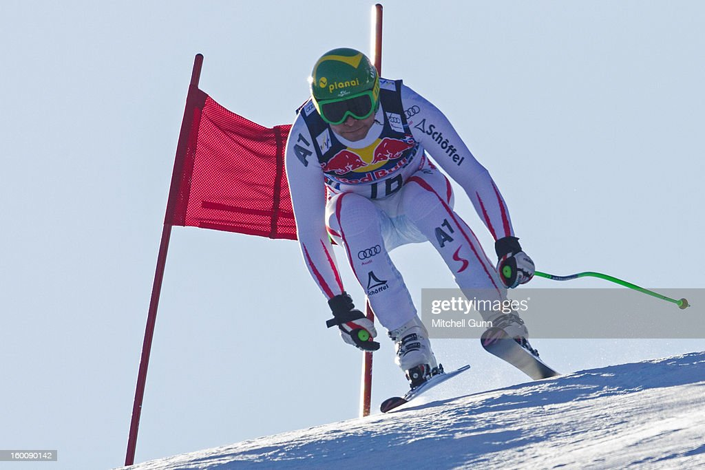 Klaus Kroell of Austria races down the Hahnenkamm course during the Audi FIS Alpine Ski World Cup Downhill on January 26, 2013 in Kitzbuhel, Austria,