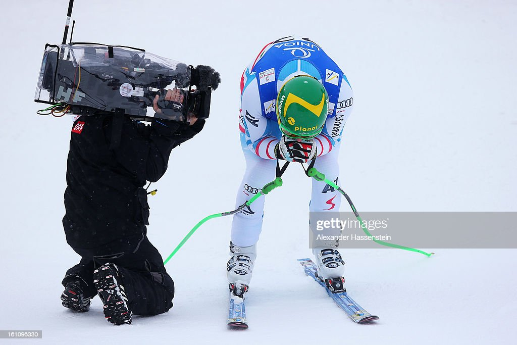 <a gi-track='captionPersonalityLinkClicked' href=/galleries/search?phrase=Klaus+Kroell&family=editorial&specificpeople=791783 ng-click='$event.stopPropagation()'>Klaus Kroell</a> of Austria reacts in the finish area after skiing in the Men's Downhill during the Alpine FIS Ski World Championships on February 9, 2013 in Schladming, Austria.